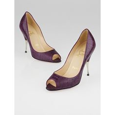 Pre-owned Christian Louboutin Purple Ostrich Leg Leather Yotruche 100... ($400) ❤ liked on Polyvore featuring shoes, pumps, peeptoe shoes, peep toe shoes, purple stilettos, purple leather pumps and purple pumps