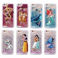 Glitter Liquid Stitch Chip Dale Elsa Mermaid Aladdin Princess Hard Case For iPhone 7 7Plus 6 6S 6Plus 5 5S SE