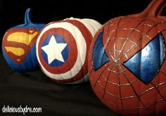 Pumpkins decorated Hero Style.  This made me think of my brother.  He would love this!