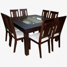 Juego Comedor Sisal (Chocolate) Wooden Dining Table Designs, Glass Dining Room Table, Wooden Dining Tables, Home Furniture, Table Decorations, Interior Design, Outdoor Decor, Chocolate, Home Decor