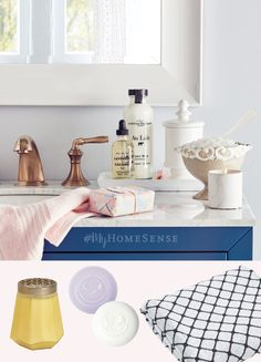 #MyHomeSense beautiful bathroom essentials have us simply bubbling over! Revamp your vanity for under $30 with a few pretty soaps, fresh hand towels, and a candle for a touch of colour. Pop into HomeSense today for endless possibilities, perfectly priced.