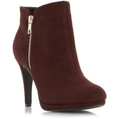 OPIA Side Detail Dressy Ankle Boot BURGUNDY ($66) ❤ liked on Polyvore featuring shoes, boots, ankle booties, burgundy bootie, high heel boots, zipper booties, zipper ankle boots and bootie boots