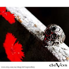 Sterling Silver sugar skull ring. Designed and made on the Gold Coast Australia.