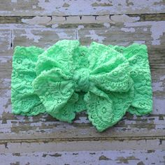 Honeydew Green Pink Lace Messy Bow Head Wrap