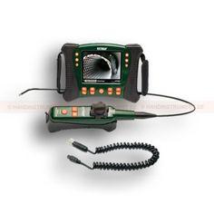 """http://handinstrument.se/inspektionskamera-r322/hd-video-inspektionskamera-med-tradlost-styrhandtag-och-styrbar-kameraspets-6-mm-diameter-och-1-m-langd-53-HDV640W-r332  HD-video inspektionskamera med trådlöst styrhandtag och styrbar kameraspets 6 mm diameter och 1 m längd  Inkluderar trådlös sändare med 6mm halvhård kamerasond (1m) med makroobjektiv  Ledad sondspets artikulerar upp till 320°-ers betraktningsvinkel  5,7 """"färg-LCD TFT med hög definition 640 x 480 px upplösning..."""