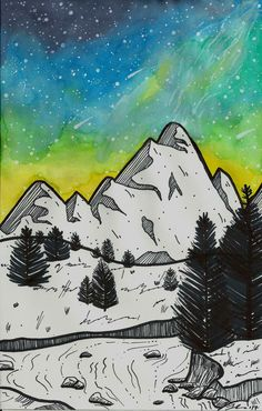 Mountain Art Print - Watercolor Galaxy - Ethereal Art