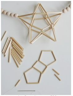 Geometric Star, Geometric Decor, Geometric Shapes, Crafts To Make, Crafts For Kids, Arts And Crafts, Diy Crafts, Christmas Holidays, Christmas Crafts