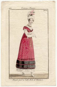 Bright pink merino gown 1813 Costume Parisien  ----- Adore the Romanesque sleeve detail.