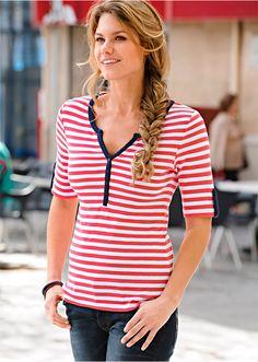 Blusa estampada azul escuro/morango/branco bolinhas encomendar agora na loja on-line bonprix.de  R$ 49,90 a partir de Blusa estampada, com mangas 3/4e ...