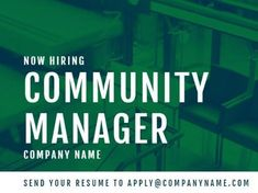 A modern Job Vacancy template with a green background and white text. Community Manager, Green Backgrounds, Company Names, Resume, Management, Positivity, Templates, Modern, Business Names