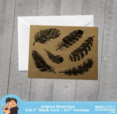Set of 5 Feather Print Blank Cards on Recycled Kraft by MarcLopez, $10.00 #notecard #blankcard #feathers #ThankYouCard #Etsy