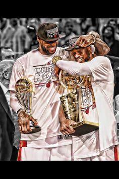 MVP Lebron James & Dwyane Wade 2013 NBA Champions
