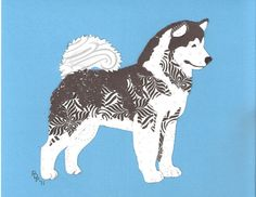 Alaskan Malamute Cut Up by CanineCutUps on Etsy, $35.00