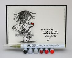 Clean Color, Zig, Clean color real brush, black and white, Penny Black, cutie, ladybug, pop of color, smile