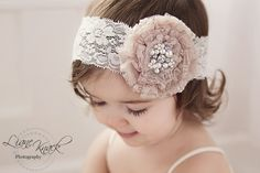 Ivory mocha Vintage Headband Rhinestones band Pearls Baby Girls Toddlers Boutique Shabby Chic Photography Prop Spring Easter on Etsy
