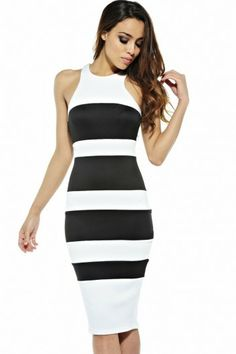 b8d3426233 Stripe Scuba Cut In Neck Midi Dress Party Dresses 2014