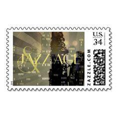 Jazz Age Saxophone City Skyline Wedding custom Postage Stamp