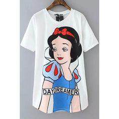 White Snow White Print Short Sleeves Tee