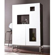 Aria Shadowbox Wine/Bar Cabinet, Black/White