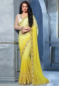 #Yellow Faux Georgette #Saree