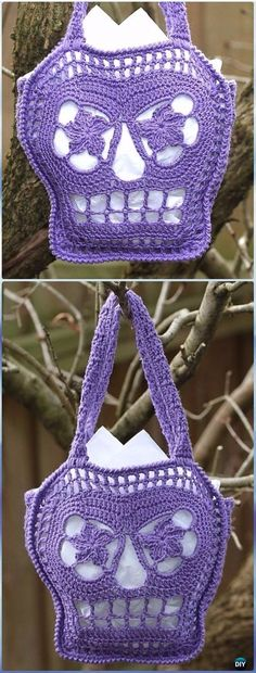 Halloween Crochet Skull Ideas Free Patterns Instructions Crochet Trick or Treat Bags Free Pattern -Crochet Skull Ideas Free Patterns Crochet Skull Patterns, Halloween Crochet Patterns, Crochet Motifs, Purse Patterns, Sewing Patterns, Love Crochet, Crochet Gifts, Crochet Hooks, Knit Crochet