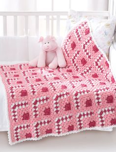 Bernat Baby Blanket Crochet Patterns | Puzzle Blocks Baby Blanket ༺✿ƬⱤღ✿༻