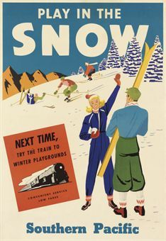 vintage ski poster - PLAY IN THE SNOW, SOUTHERN PACIFIC RR