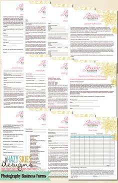 12 Forms - Photography Business Forms Kit - Contract, Model Releases and more. $40.00, via Etsy.