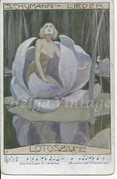 Vintage Austrian postcard with Art Nouveau graphics lady in flower Lotosblume Art Nouveau, Art Deco, Surviving In The Wild, Romantic Girl, Antique Art, Vintage Postcards, Fairy Tales, Lotus, Artist