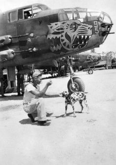 Man with his dog in front of an Squadron, Bomb Group gun nose version. Ww2 Aircraft, Military Aircraft, Aircraft Painting, Airplane Art, Ww2 Planes, Nose Art, Military Art, Historical Photos, Airplanes