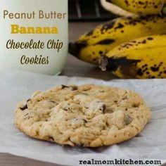 Peanut butter banana chocolate chip cookies