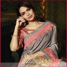 4937644d73a47 Esha Gupta Grey Silk Saree With Zari Embroidery