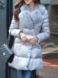 DABUWAWA Gray Plain Pockets Long Sleeve Polyester Down Coat - AdoreWe.com