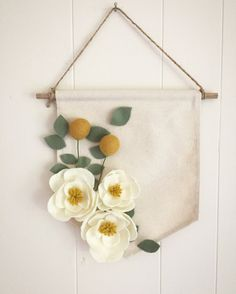 Items similar to Large Magnolia, Eucalyptus, and Billy Ball Felt Flower Canvas Banner on Etsy is part of Felt flowers This sweet felt flower banner features magnolias, eucalyptus leaves and billy ba - Felt Flowers, Diy Flowers, Fabric Flowers, Paper Flowers, Felt Flower Wreaths, Felt Crafts, Diy Crafts, Decor Crafts, Fleurs Diy