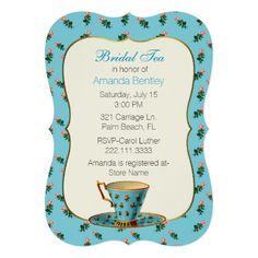 Chic Floral Bridal Shower Tea Party Invitation #bridalshower #bridaltea #teaparty