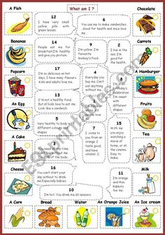 This is another worksheet where pupils are asked to solve the riddles about kind of food and its qualities . Then match the riddle … Food Vocabulary, Vocabulary Activities, Food Games For Kids, Activities For Kids, Healthy And Unhealthy Food, Healthy Drinks, Food Riddles, Daily Routine Kids, Fruits For Kids
