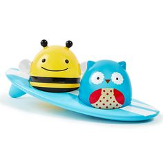 Your little one will enjoy bath time with the SKIP*HOP Zoo Light-up Surfers. SKIP*HOP's zoo characters, Owl and Bee float on their own and on a surfboard. This fun bath toy comes with three floating pieces that light up when they touch the water. Zoo Lights, Bath Toys For Toddlers, Toddler Toys, Skip Hop Zoo, Baby Bath Toys, Baby Store, Rubber Duck, Bath Time, Surfboard