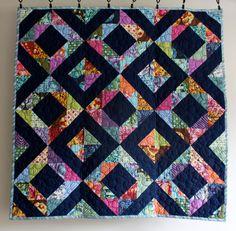 geometric baby girl quilt // rainbow diamond by olivetreetextiles