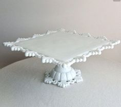 Westmoreland Milk Glass Petal and Ring Square Cake Plate