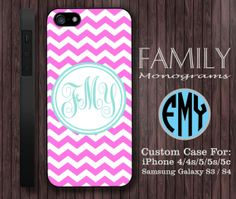 light pink blue chevron monogram hard plastic by familymonogram, $15.99