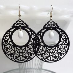 Stunning Black and White Filigree Beaded Earrings