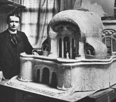 rudolf steiner with the first model of the goetheanum