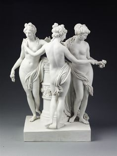 Jüchtzer, Christian Gotfried, born 1752 - died 1812 the Three Graces from classical Greek mythology, Aglaea, Euphrosne and Thalia, who represent charm, beauty and joy and who were the companions of Aphrodite, Apollo and Athena. 1785