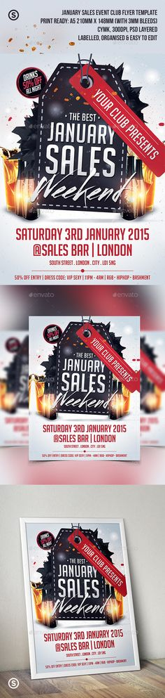 January Sales / Sale Event Club Flyer — Photoshop PSD #clean #texture • Available here → https://graphicriver.net/item/january-sales-sale-event-club-flyer/9830069?ref=pxcr