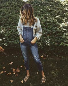 Denim overall outfit with Birkenstocks