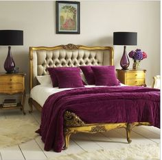 royal gold and purple bedroom decor