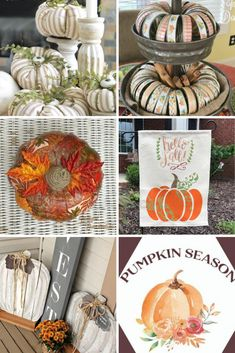 A collection of 27 Ways To Make Your Own Fall Pumpkins for Fall Decorating in your home. Do you love repurpose and upcycle projects? This list is for you. It's Farmhouse Style decorating for the Fall. Easy DIY and some that require a little more skill. #falldecorating #fallpumpkins #DIYDecorating Wood Pumpkins, Glass Pumpkins, Fabric Pumpkins, Fall Pumpkins, Pallet Pumpkin, Diy Pumpkin, Pumpkin Decorating, Fall Decorating, Painting On Pallet Wood
