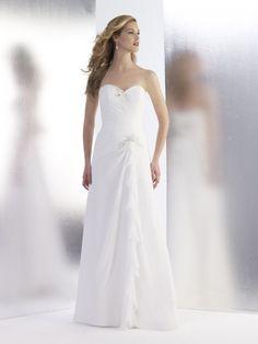 A-line Sweetheart Pleated Bodice Beaded Accent Chiffon Wedding Dress-wa0286, $229.95