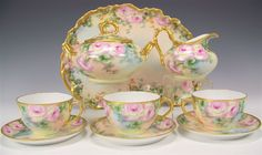 Gorgeous Limoges France Roses Afternoon Tea Service, Elegant Tea Set with Tray ~ Teacups & Saucers ~ Hand Painted Victorian Heirloom French Tea Service Tray Complete with Sugar Creamer Artist Signed Circa 1890