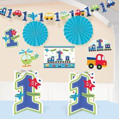 Check out All Aboard 1st Birthday Room Deocarting Kit - Party Ideas & Supplies from Birthday In A Box